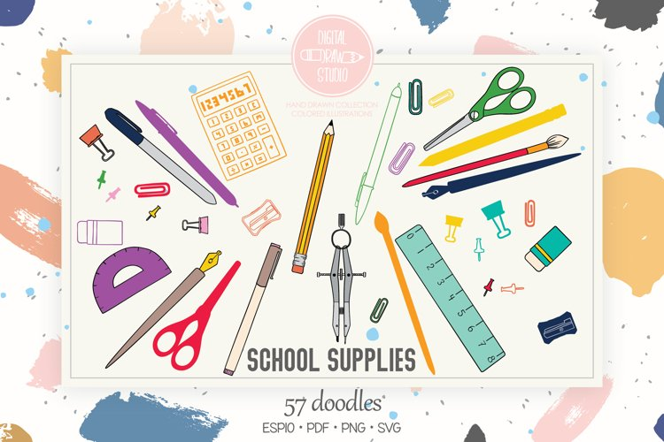 School Supplies Color | Hand Drawn Stationary, Office Doodle
