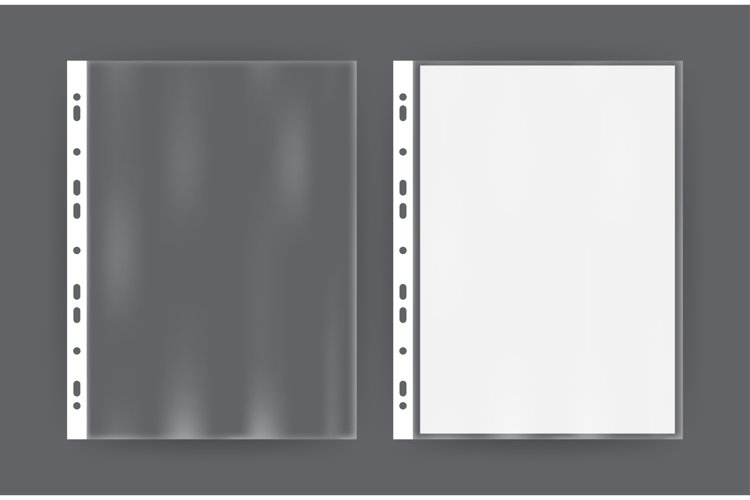 Realistic file, plastic bag, polythene on transparent example image 1