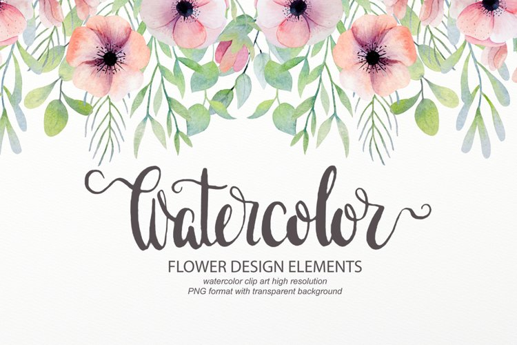 Watercolor floral design elements example image 1