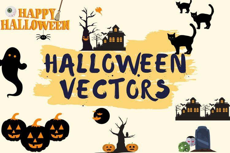 Halloween SVG- Pumpkin, Houses, Witch, Trees, Spider, Ghost example image 1
