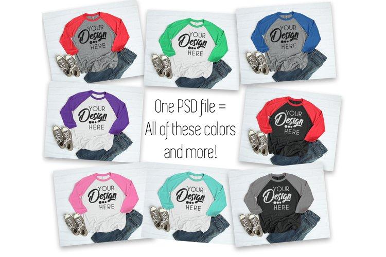 PSD Color Change Raglan Shirt Mockup Next Level 6051 Shirt example image 1