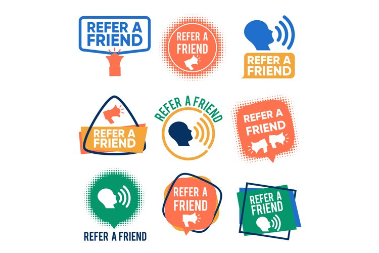 Refer a friends banners vector set. Referral program labels example image 1