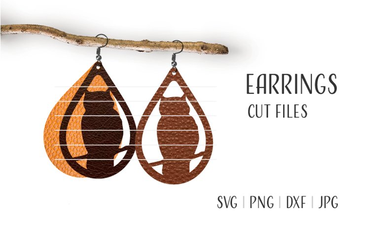 Owl Earrings Svg / Leather / Faux / Wood / Cut example image 1