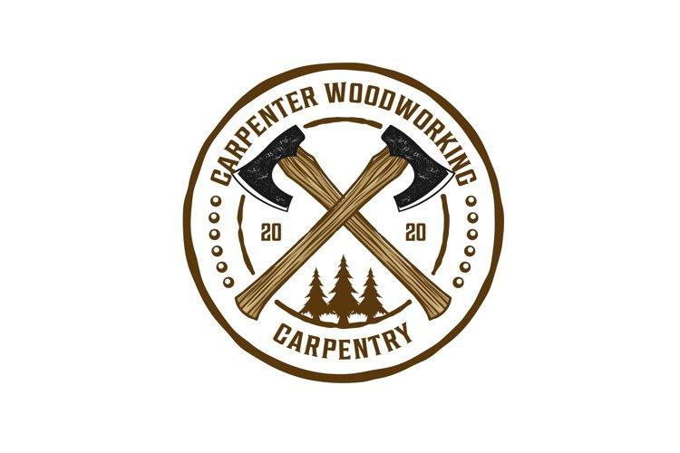 Capenter industry logo design - carpentry plane axe example image 1