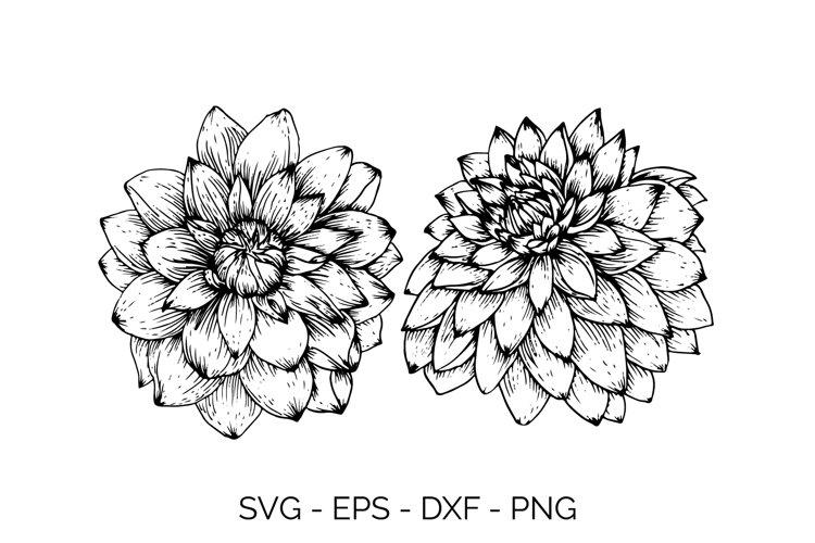 Spring Dahlia Handdrawn svg example image 1