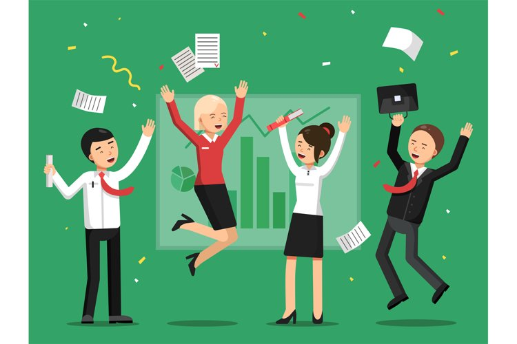 Business people celebrating success from big deal example image 1