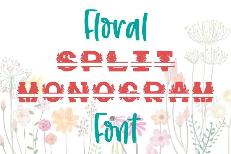 Floral Split Monogram Font Personalized Flower Font TTF OTF
