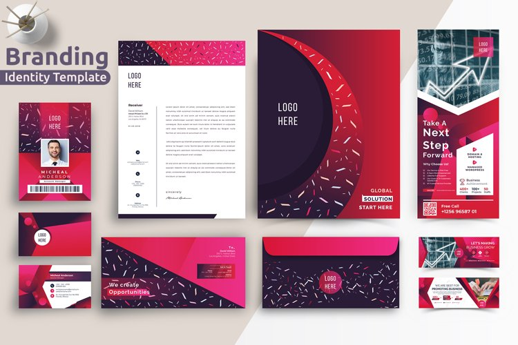 Modern Corporate Branding Identity Stationery Template example image 1