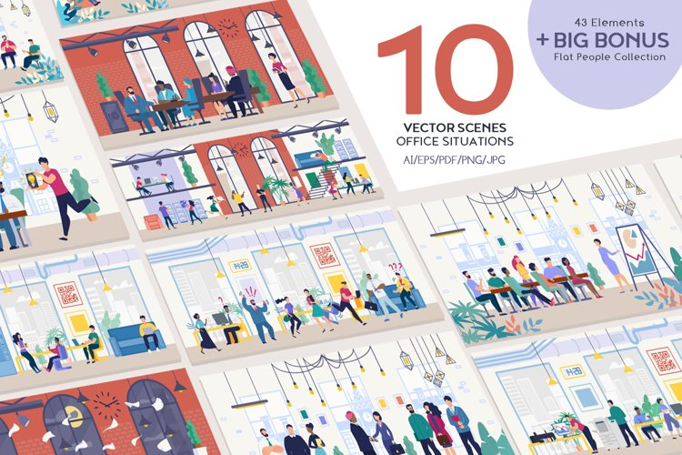 Office Situation Flat Collection example image 1