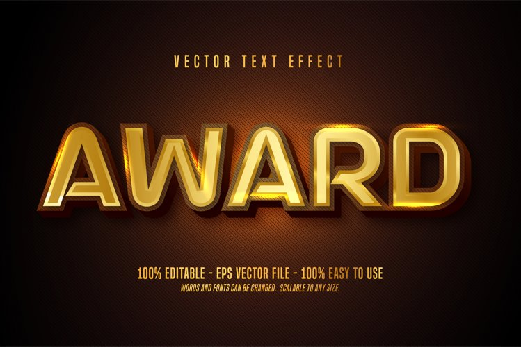 Award text, shiny gold style editable text effect example image 1