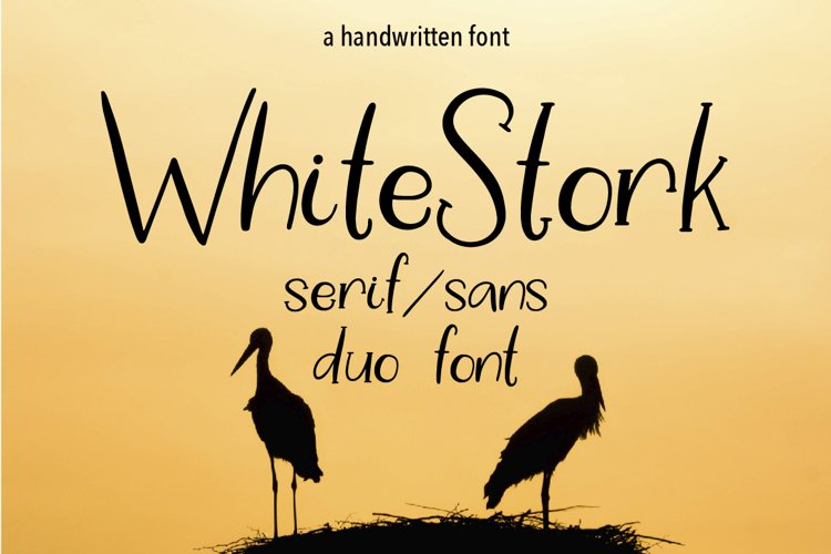 WHITE STORK. A HANDWRITTEN DUO FONT. example image 1