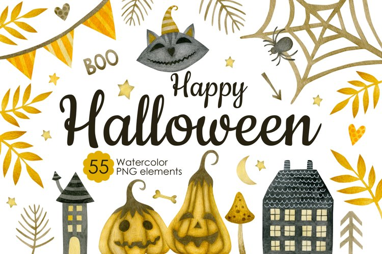 Watercolor Halloween Clipart example image 1