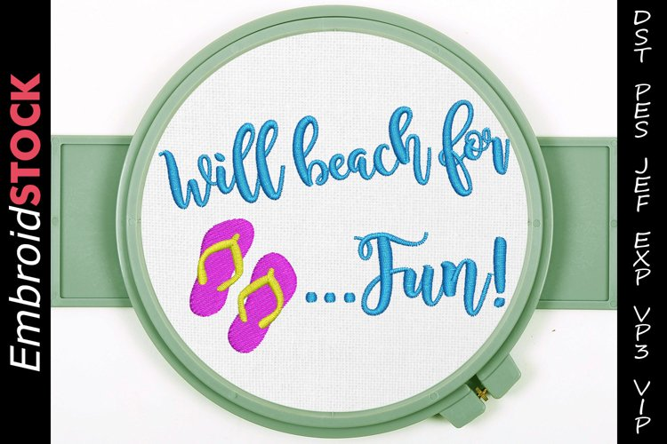 Will Beach for Fun Embroidery Design example image 1