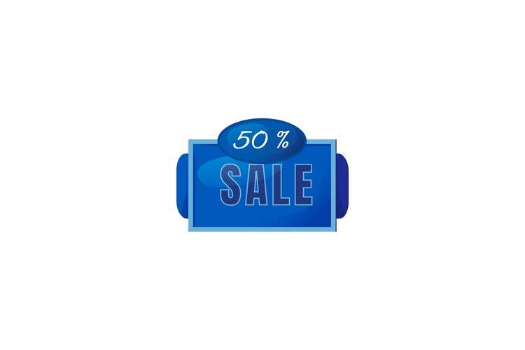 Half price sale blue vector board sign illustration example image 1
