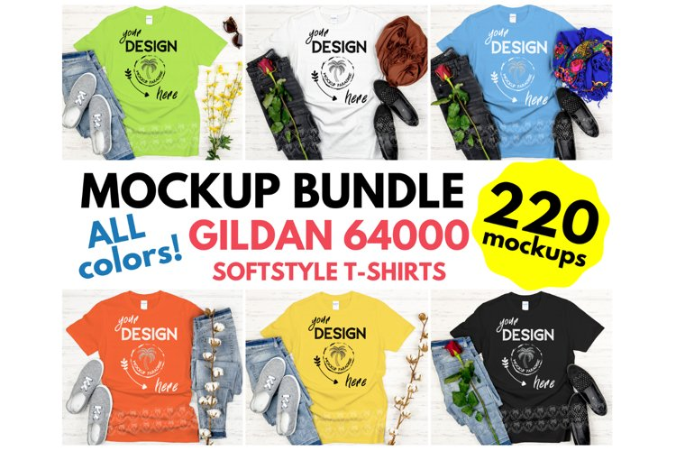 Gildan 64000 Mockup Bundle - Gildan Softstyle T-shirts example image 1