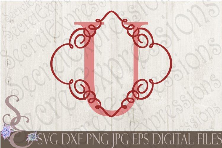 Letter U Initial Swirl Border Monogram example image 1