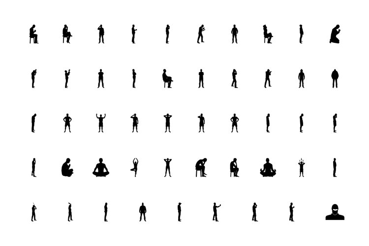 Silhouette concept people man black color set solid style example image 1