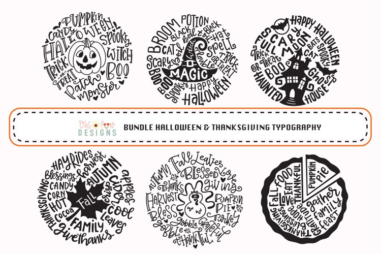 BUNDLE Halloween Thanksgiving typography svg example image 1