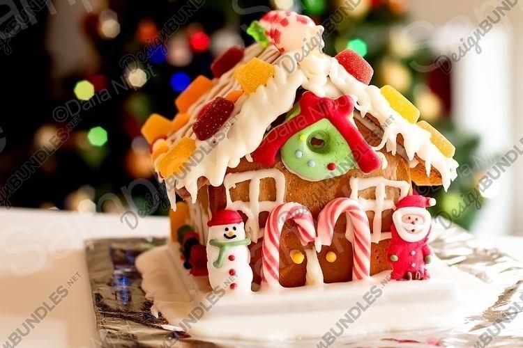 Homemade gingerbread house and christmas tree