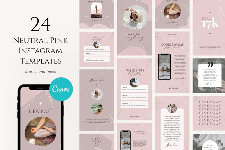 Pink Instagram Templates Pack example image 1