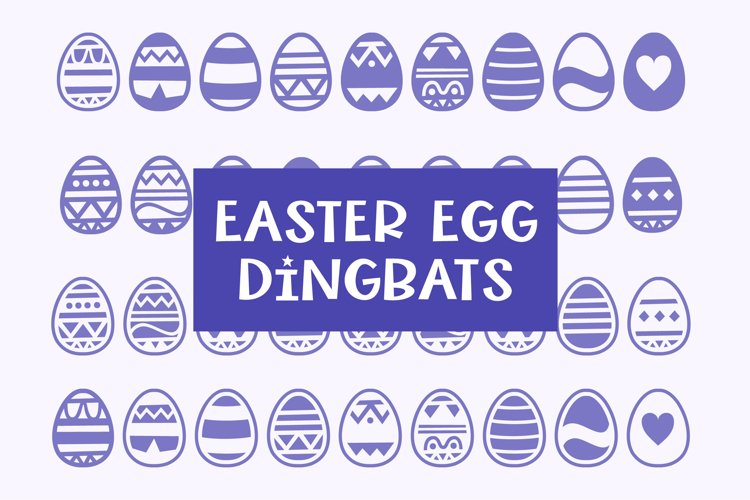 Easter Egg Dingbats - smooth cuttable easter egg doodles example image 1
