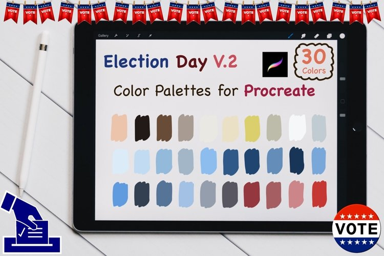Color Palettes set for Procreate - US election V2 example image 1