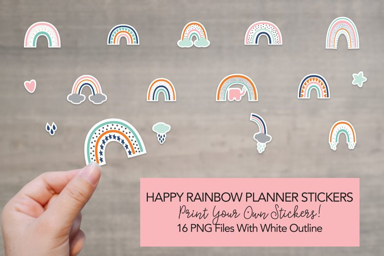 Printable Rainbow Planner Stickers - PNG Stickers