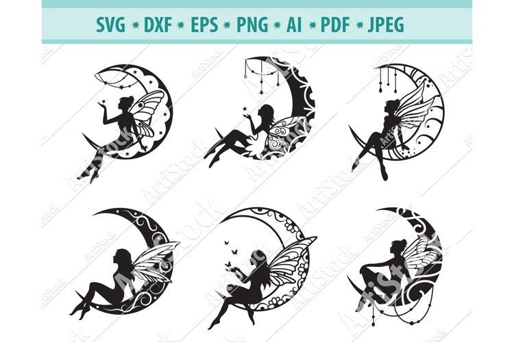 Mandala moon Svg, Fairy Svg, Crescent moon Png, Eps, Dxf