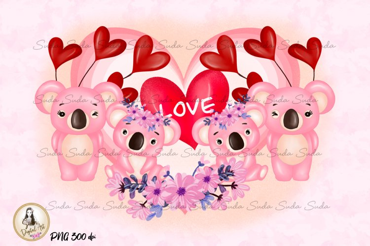 Koala Love Valentines Day Sublimation