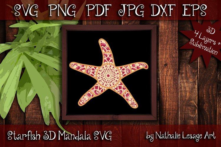 Layered Mandala Starfish 3D SVG Beach Design And Sublimation example image 1