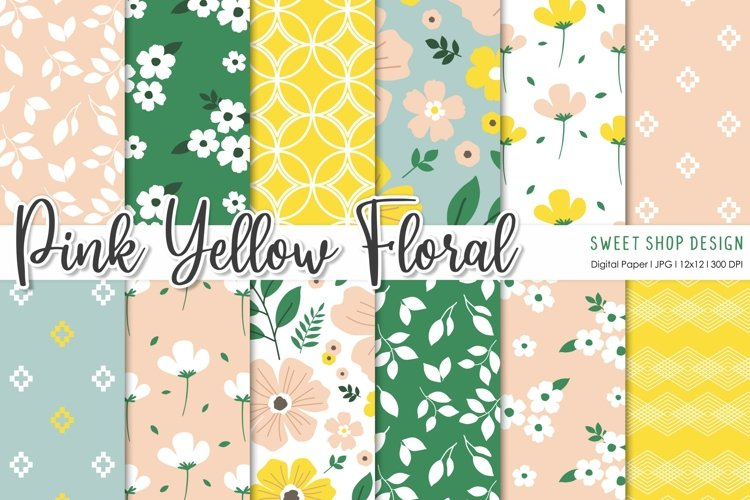Digital Paper Pack Pink Yellow Floral