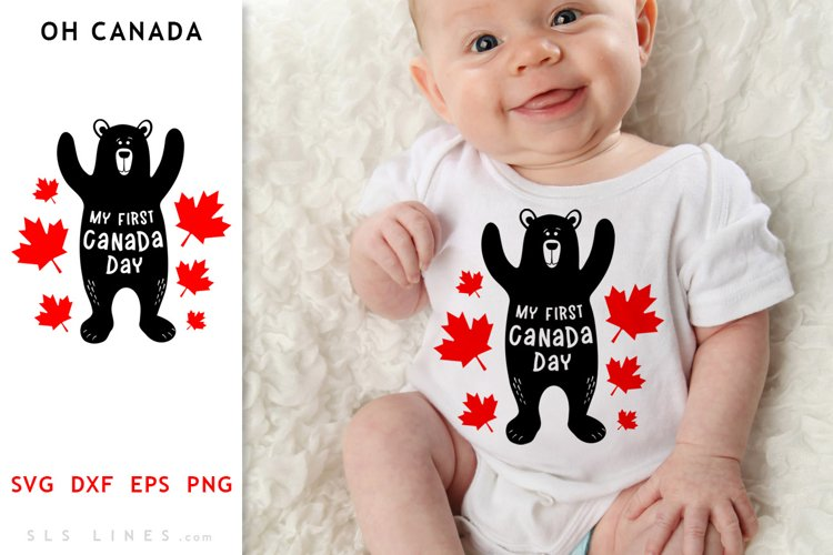 Canada Day Bear SVG - My First Canada Day Cut File