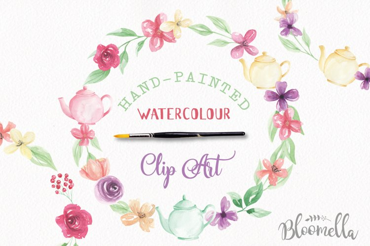Watercolor Teapot Flower Wreath Floral Clipart Set example image 1