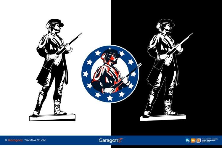 Minuteman Patriot American Revolution vector logo