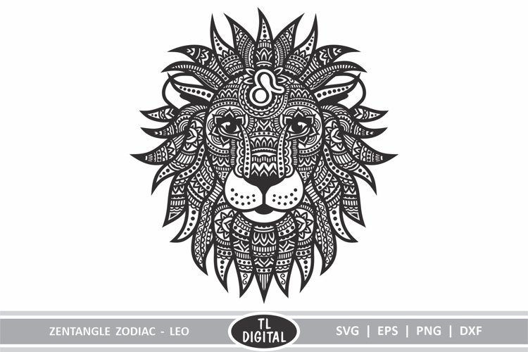 Zodiac Zentangle - Leo / Lion - SVG | EPS | PNG | DXF example image 1
