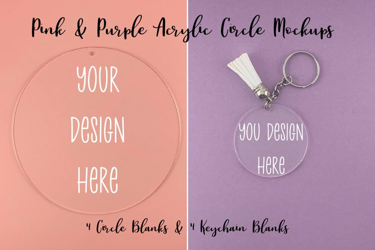 Pink & Purple Clear Acrylic Mockups Circle and Keychain