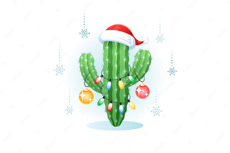 Merry Christmas. Greeting card with a cactus. example image 1