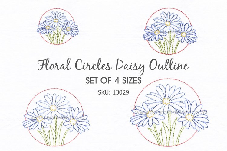 3 Daisy Flower Floral Circles Machine Embroidedery Design example image 1