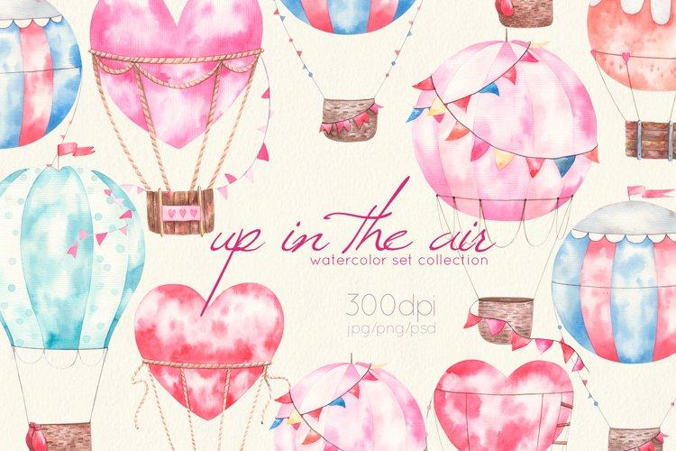 Air ballons watercolor baby, childish set, jpg, png, psd
