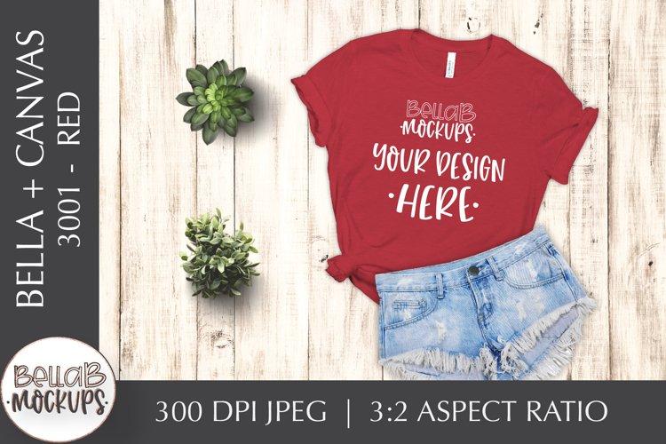 Bella Canvas 3001 Woman's T Shirt Mockup, Red, Flat Lay example image 1