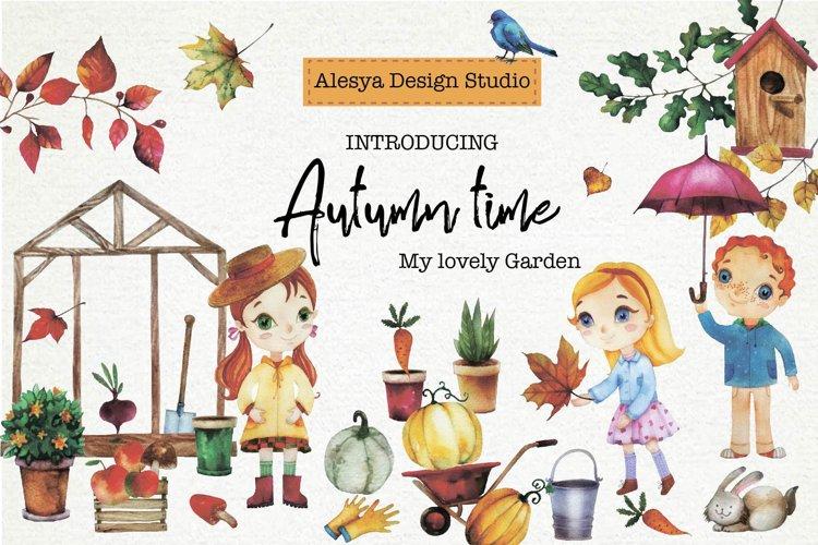 Autumn. My favorite garden. Watercolor illustration.
