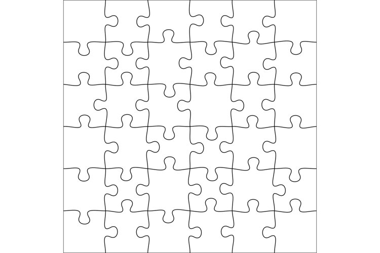 Jigsaws puzzles. Square puzzle 6x6 grid, jigsaw game and joi example image 1
