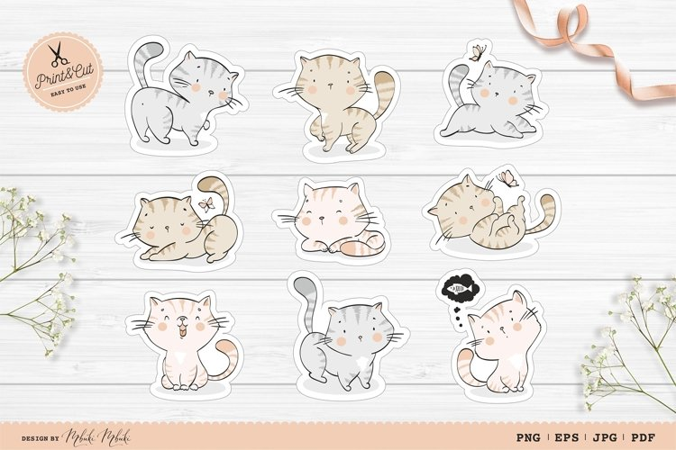 Cute Cats Printable Stickers Cricut Design/Animal characters