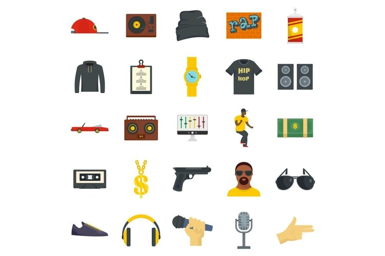 Hiphop rap swag music dance icons set, flat style example image 1