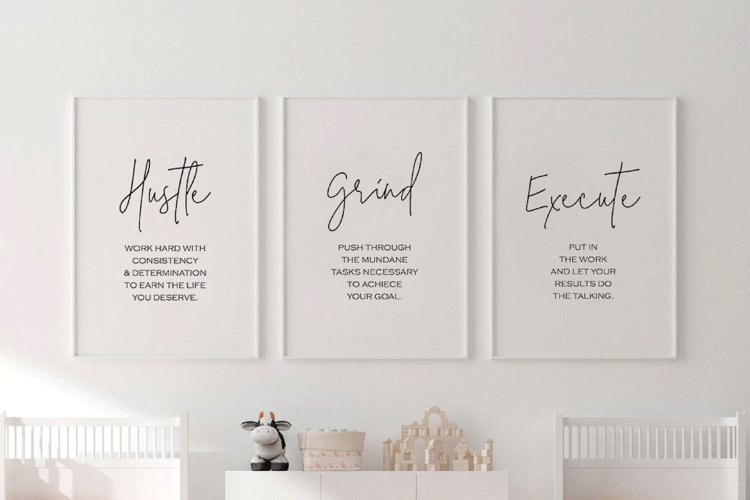 Office Decor for Girl Boss, Hustle Poster Grind Inspirations example image 1