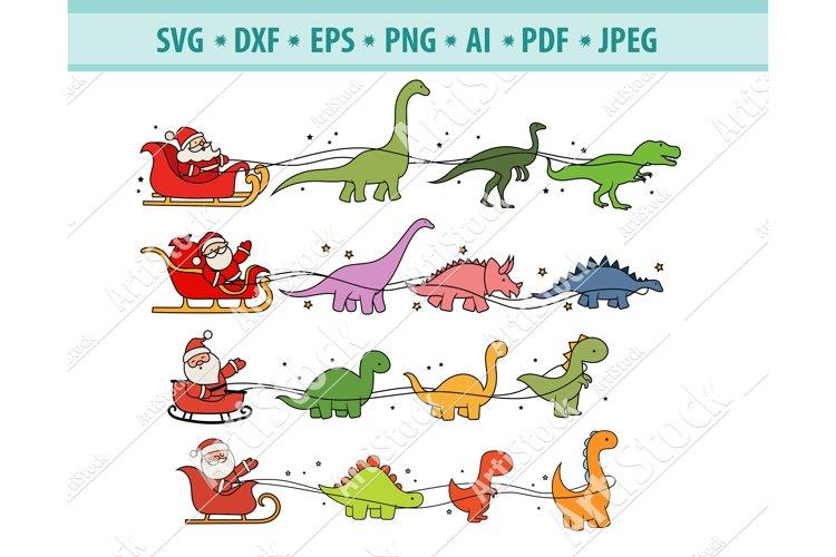 Christmas SVG, Christmas Dinosaur sleigh Svg, Dxf, Eps, Png example image 1