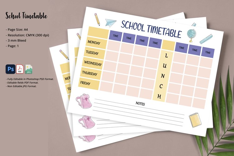 School Timetable Template example image 1