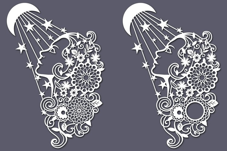 Floral Lady with Moon SVG cut files example 1