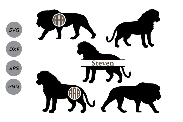 lion SVG, lion monogram svg, lion cut file, animal svg, lion