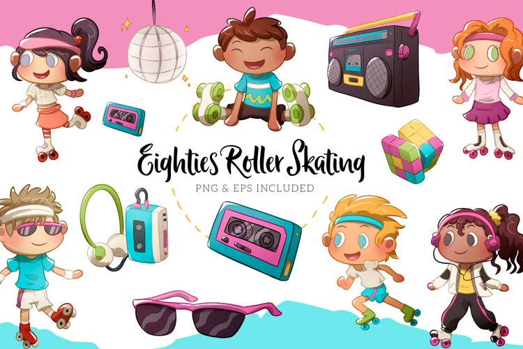 Eighties Roller Skating Party Illustrations